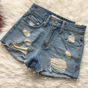 Lovers+Friends Distressed High-Waisted Shorts